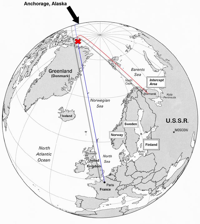 Маршрут полёта Корейского Боинга в 1978г. Рейс 902