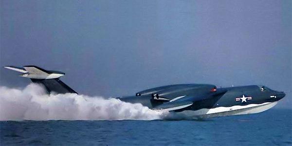 Американский реактивный самолёт-амфибия Martin P6M Seamaster на глиссирующем режиме 1955 год