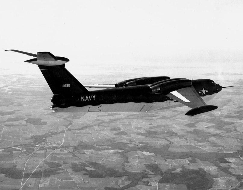 Американский реактивный самолёт-амфибия Martin P6M Seamaster в полёте 1955 год