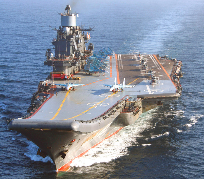 Авианосец адмирал Кузнецов на крейсерском ходу Применение авиатехники