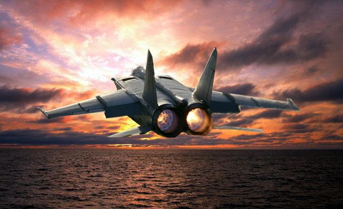 МиГ-25 на сверхмалой высоте над морем