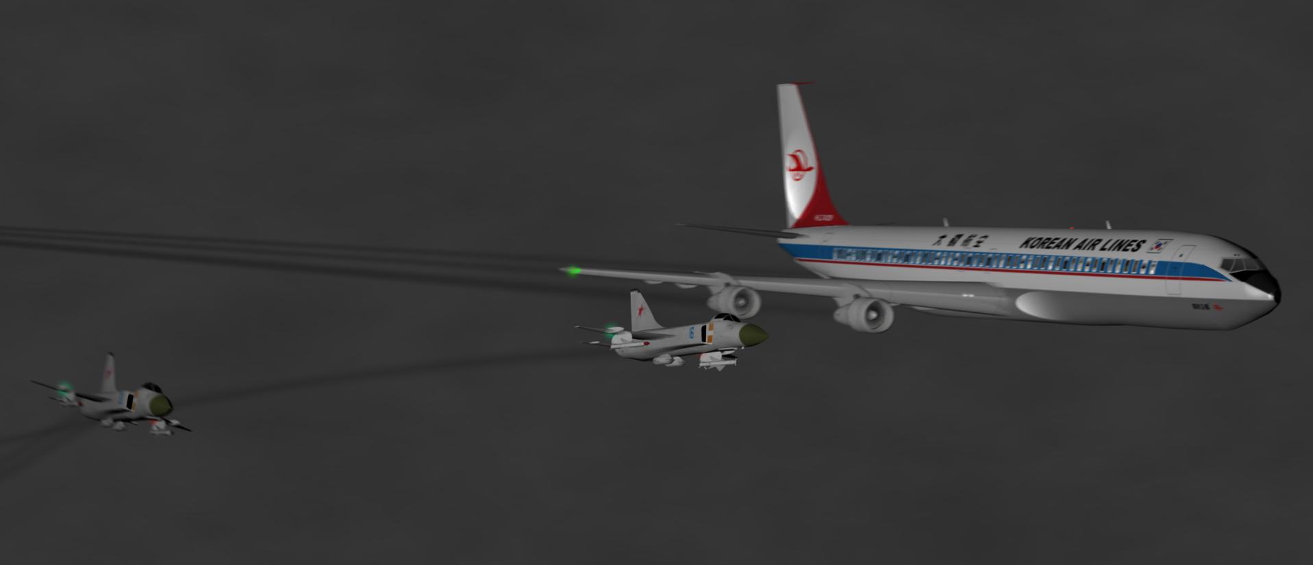 Корейский Боинг 707 в сопровождении Су-15 в Карелии в 1978г