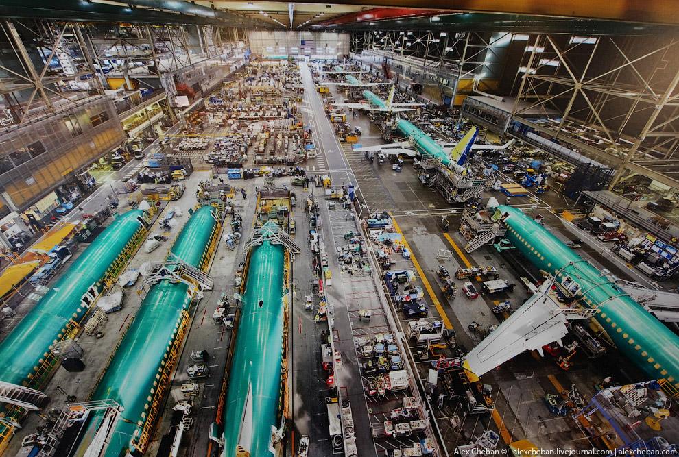 Завод Боинг Один из сборочных цехов