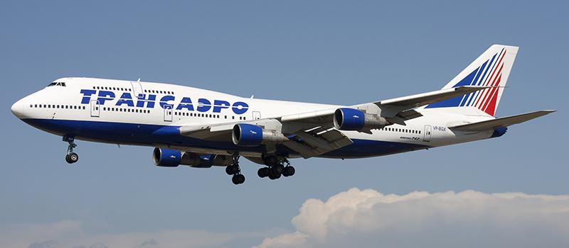 Боинг 747-300 Авиакомпания Трансаэро Посадка
