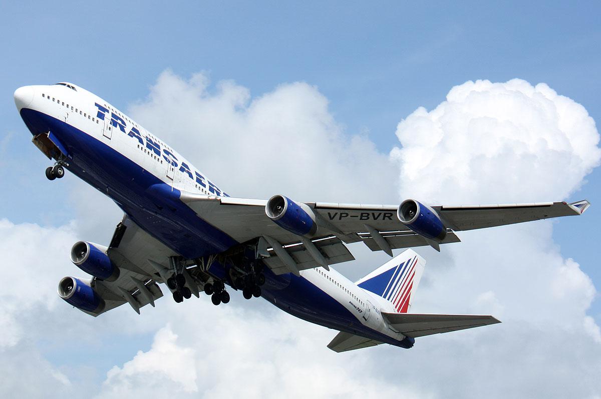 Боинг 747-400 Авиакомпания Трансаэро Посадка