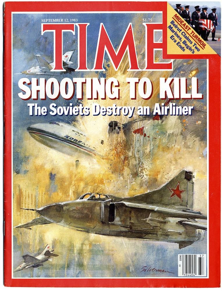 Обложка журнала зарубежных средств массовой информации после крушения Корейского Боинга в 1983-м году