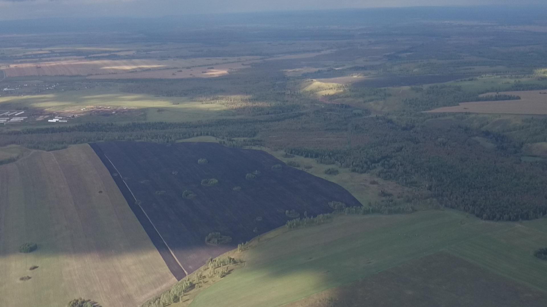 Красноярск Аэродром ДОСААФ Манский Пейзаж снятый с парашюта Пашня. 6.09.2015 года