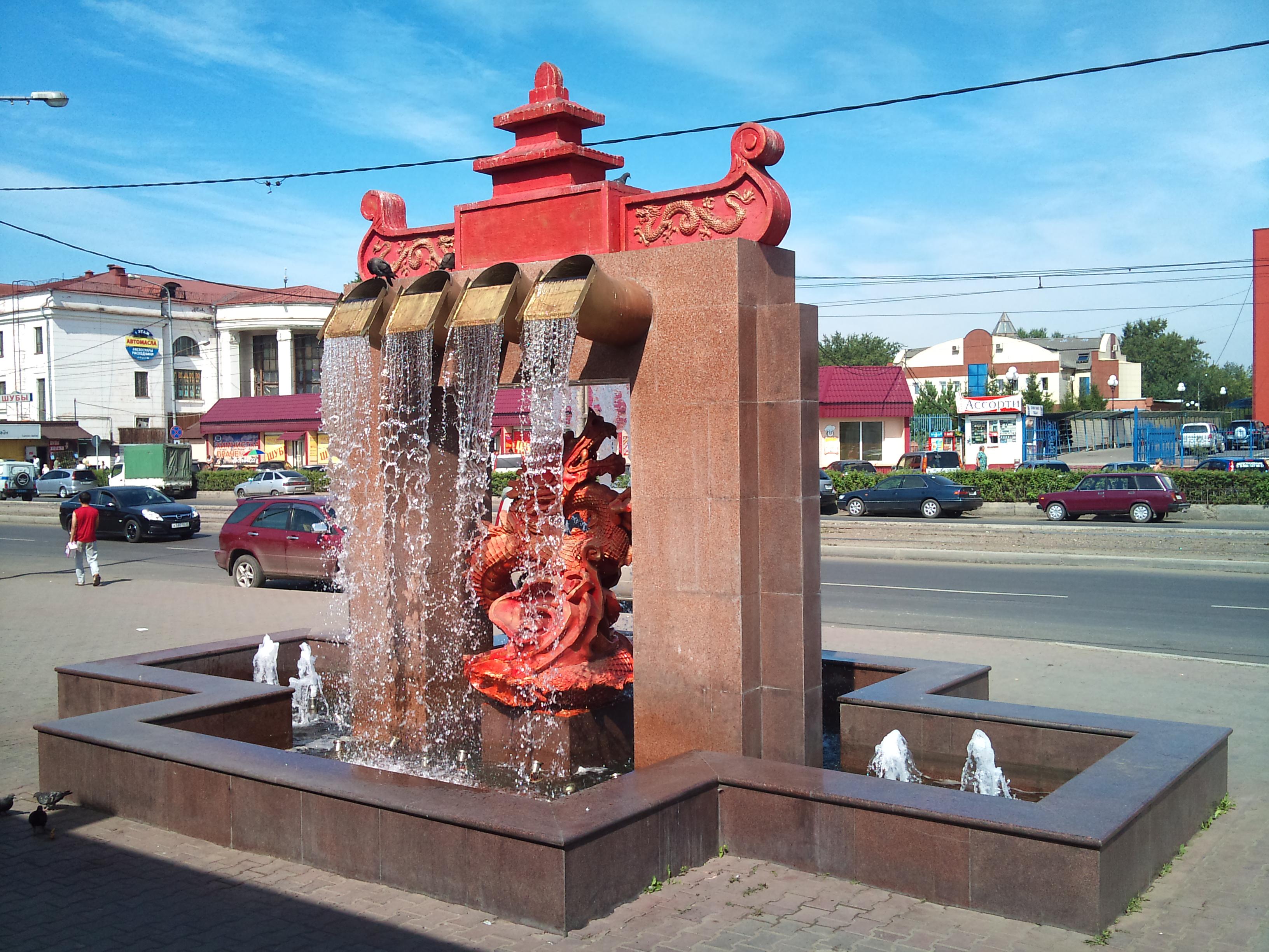 Красноярск фонтан на рынке Крас ТЭЦ. 24.07.2012 года