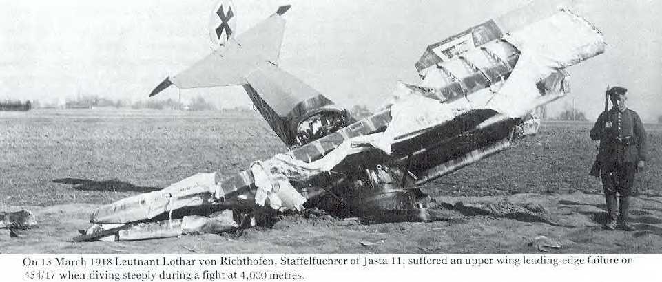 Сбитый самолёт Лотара фон Рихтгофена брата Манфреда фон Рихтгофена