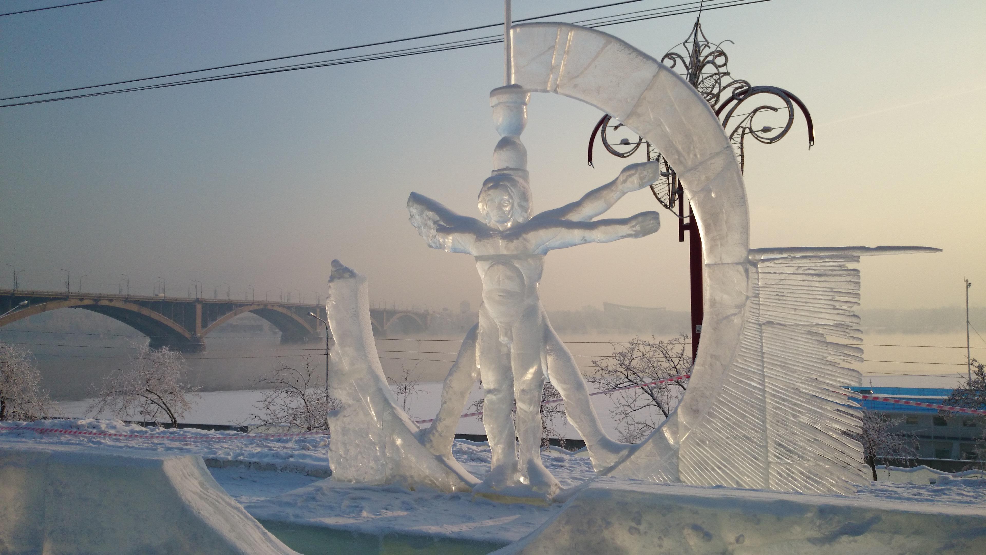 Красноярск Ледяные фигуры Triumph of humanity Триумф человечества.29.01.2016г