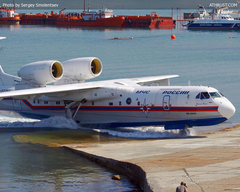 Самолёт-амфибия КБ Георгия Михайловича Бериева Бе-200 Выход с воды на берег