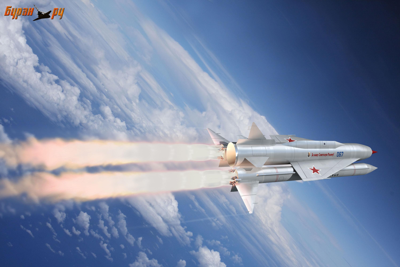 Межконтинентальная крылатая ракета Семёна Алексеевича Лавочкина Буря на маршевом полёте
