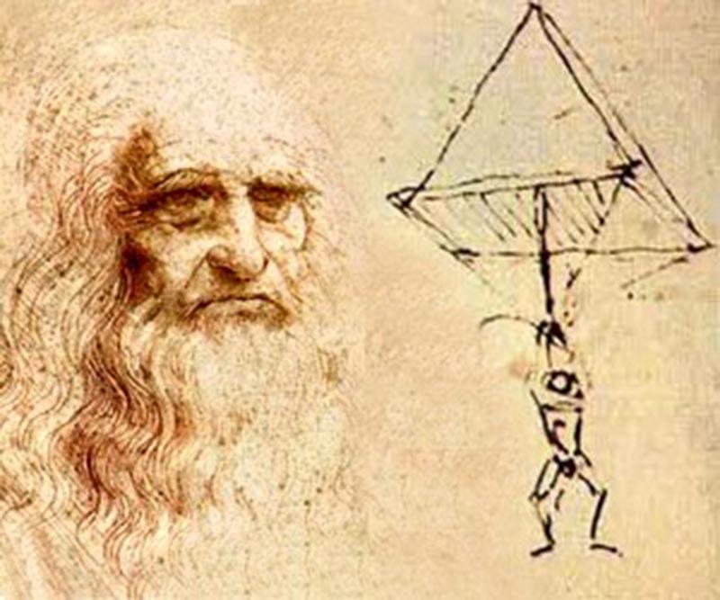 Леонардо да Винчи со своим проектом парашюта