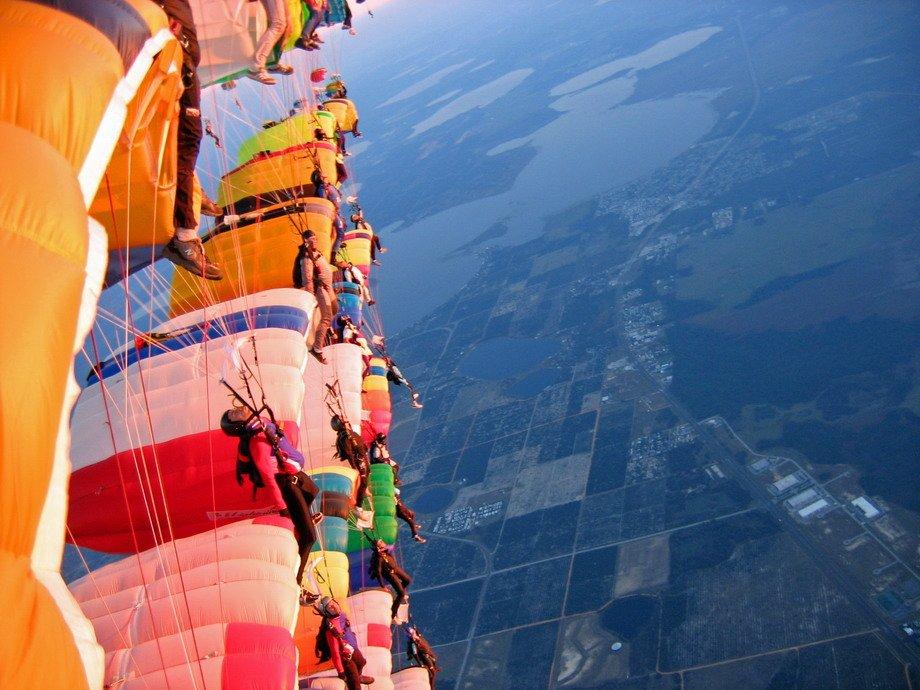 Вид парашютного спорта Купольная акробатика Вид глазами самого парашютиста