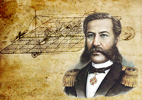 Александр Фёдорович Можайский на фоне своего самолёта