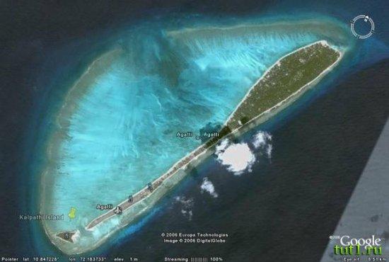 Остров Агатти с аэропортом на Лакшадвипских островах в Аравийском море