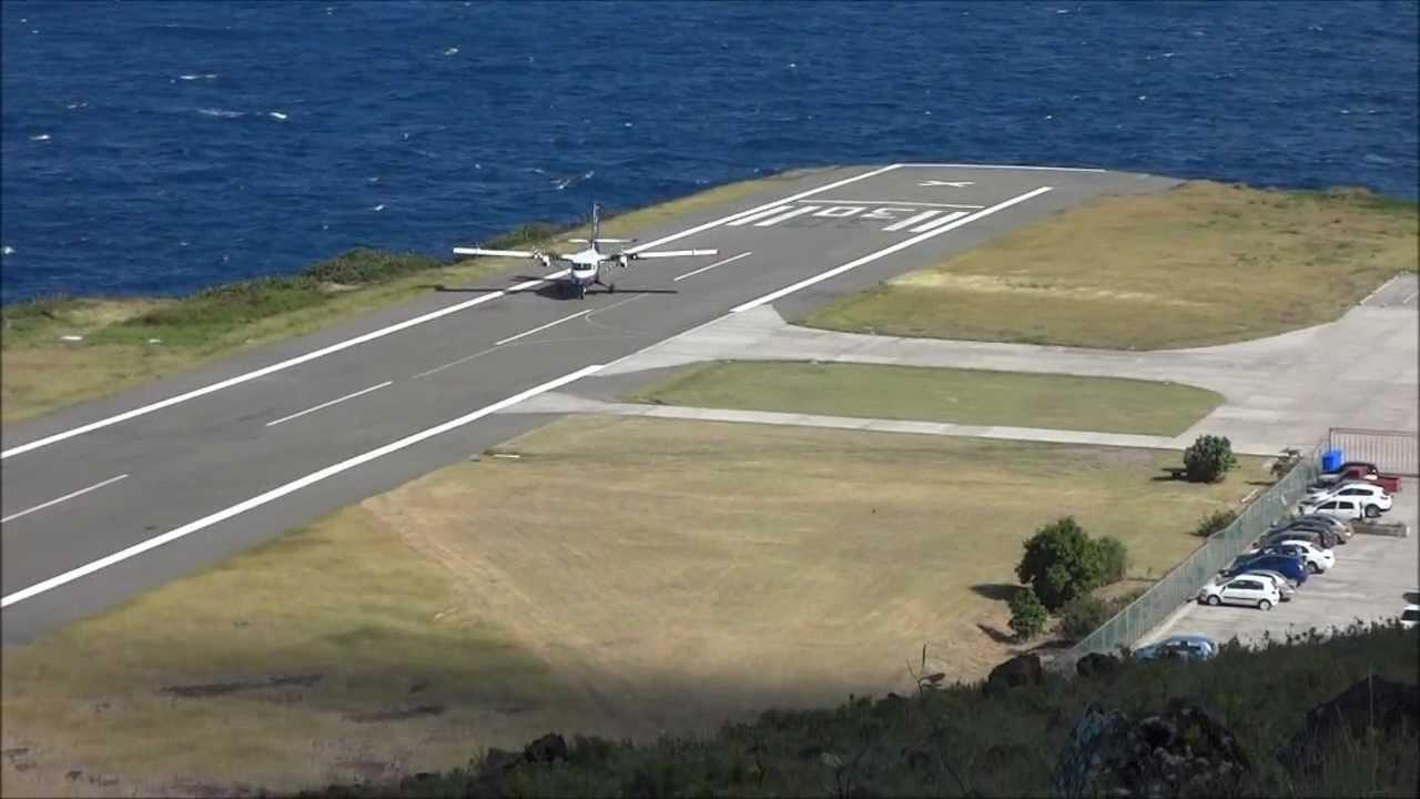 Взлётно-посадочная полоса в эропорту на острове Саба (Saba) Длина взлётной полосы менее 400 метров
